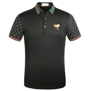 Brand New Spring Summer autumn men casual polo shirt t shirts men polo tshirts snake bee embroidery High street mens polos t-shirt
