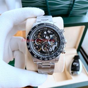 Последние топ моды мужские скелетные часы 116500 116520 открытый циферблат автоматическое движение без хронографа Мужчины розовые золотые крутые спортивные наручные часы
