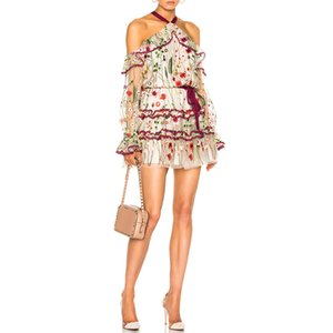 416 2019 런웨이 드레스 무료 배송 봄 여름 원피스 제국 민소매 메쉬 자수 스파게티 스트랩 런지 복장 여성의 오우 라이 아이