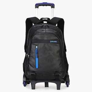 Collégien 2/6 roues trolley cartable garçon fille bagages étanche cartable détachable ados voyage sacs sac à dos