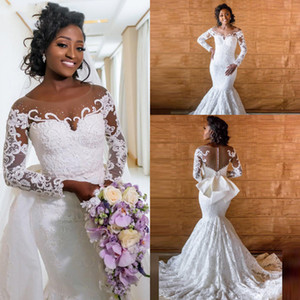 Luxury Mermaid White Lace African Wedding Dresses Sheer Neck Ilusion Long Sleeve Big Bow Bridal Gowns 2020 Vestido De Noiva