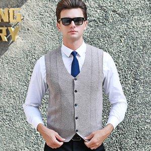 MACROSEA весна осень мужские Кардиган Solid Color 100% шерстяной свитер Классический стиль, у мужчин без рукавов свитера кардигана жилет C8151