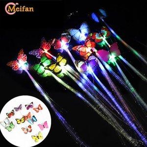Meifan Çocuk LED Saç Klip Aksesuar Parti Düğün Dekorasyon Işık Yayan Fiber Kelebek Firkete Şekillendirme Aracı