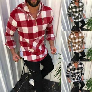 رجل عارضة منقوشة هوديس البلوز كم طويل مقنع البلوز قميص أعلى أبلى الخريف ملابس الرجال الجديد