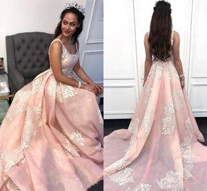 Elegante Blush Pink Lace Appliqued A-line Vestidos de baile Fiesta de noche con cuello redondo de lujo Vestido de quinceañera Vestidos formales BC2458