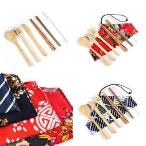 Экологию Bamboo Flatware Kit Портативный соломы нож Вилка Ложка столовая посуда Костюм мешковину 7 шт Набор 7 6zr UU