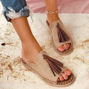 Scarpe Estate Boemia della nappa nappe donne dei pistoni pattini piani casuali pantofole Peep Toe Sandals scivolare su Slipper Plus Size