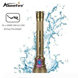AloneFire DV40 Dive 30000LM 12 * XM-L2 LED 100m impermeabile Scuba Diving 26650 Torcia Flashlight