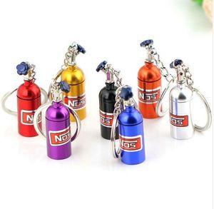 Llavero del diseñador de la botella NOS Turbo nitrógeno metal clave llavero cadena joyería del sostenedor del coche llavero colgante para las mujeres de los hombres único