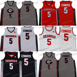 NCAA Georgia Bulldoggen 5 Anthony Edwards Basketball-Jerseys College rotes weißes schwarzes graues College-Jersey-freies Verschiffen