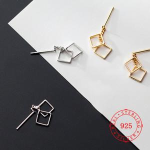 Guangzhou mercado de jóias de alta qualidade 925 jóias de prata moda design quadrado brincos banhado a ouro mulheres brinco fabricados na China