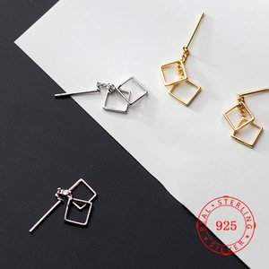 guangzhou Schmuck-Markt hohe Qualität 925 Silber Modeschmuck quadratisches Design Ohrstecker vergoldeten Frauen in China hergestellt Ohrring