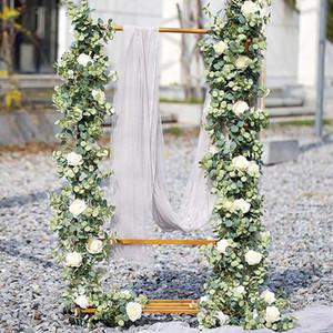1.8M Eucalyptus artificiale con Rose Garland Hanging Rattan Vertical Garden Home Tabella del partito contesto di cerimonia nuziale della decorazione della parete della vite