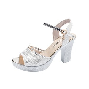 Sexy Summer Ladies Sandals Buckle Strap Bohemian Sandals for Women Shoes Woman Square High Heels Bling Plus Size Platform Shoes