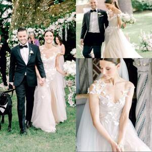 2020 bohemia romántica de la mariposa de tul una línea vestidos de boda de la manga casquillo Apliques largo del jardín del país Vestido de Noiva vestidos de novia