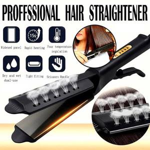 Alisador de cabelo de quatro engrenagens Ajuste de temperatura cerâmica Turmalina Ionic Flat Iron Straineberger para mulheres ampliar painel