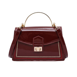 LANZHIXIN Vintage Patent Leather Crossbody Bag For Women Fashion Handbags with Iron Handle Lady Small Shoulder Messenger Bag