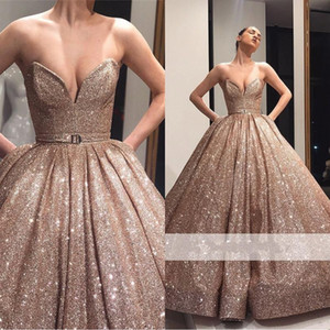 2019 Sparkly Rose Gold Ball Gown Quinceanera Dresses Sweetheart Sequined Dresses Evening Party Wear Prom Gowns vestido de novia BC1500