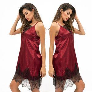 Lingerie Nightdress Robe Sexy Womens Nightie Lace cetim de seda Strappy das senhoras Pijamas Feminino Red Vestido sem costas do sono