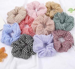 Cabello Scrunchies tela escocesa de malla lazos del pelo Claro hairband ancho Mujeres Niñas Ponytail de Verano accesorios del pelo 19 Diseños DW5221