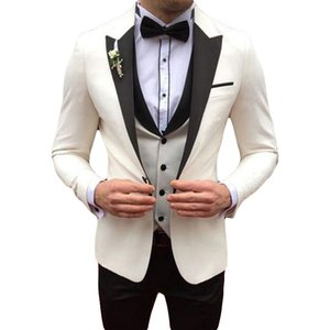 Italian Ivory Men Suits for Wedding Groom Wedding Tuxedos Slim Fit Male Business Blazer Peaked Lapel 3 Piece Coat Pant Vest