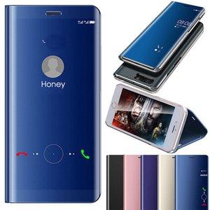 Clear View Espelho Caso Carteira Telefone Para Samsung S10 S9 S8 S7 borda Nota 9 8 Smart Cover Janela Virar Couro chapeamento Com Retail Box