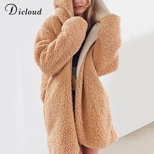 Dicloud faux fur long coats women winter teddy bear hooded warm parka long sleeve hoodie 2018 casual outwear female plus size