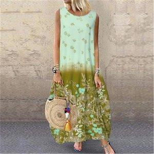 Women Summer Maxi Dress Casual Print Floral Oversized Dresses Sleeveless Loose Long Dress Ladies Bohemian vacation Beach Dresses