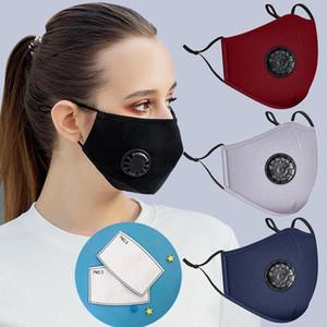 Maschera in cotone moda maschera traspirante Valvola respiratoria traspirante Maschera protettiva antipolvere antipolvere Proof Lavabile riutilizzabile Maschere per ciclismo con 2 filtro