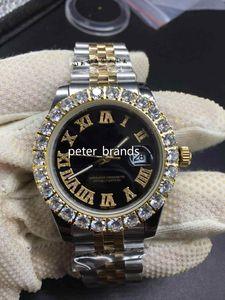 Grapas relojes del diamante dos tonos de oro de 43 mm de plata más grande del dial del diamante del bisel reloj de los hombres de moda de Automática
