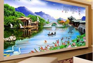 Пользовательские 3D Mural Wallpaper Creative Extended высокой четкости цветок лотоса остановить павильон напоминает Цзяннань Landsca Настенная живопись шелковые обои