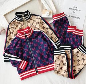 봄 가을 새로운 소년 소녀 아기 캐주얼 스포츠 의류 아이들은 두 조각 편지 카디건 재킷 + 바지 세트 색상을 명중