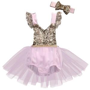 New Cute Toddler Neonate Abbigliamento Princess Party Giallo Tutu Pizzo floreale Tulle Tutu Bow Paillettes Birthday Party Dress
