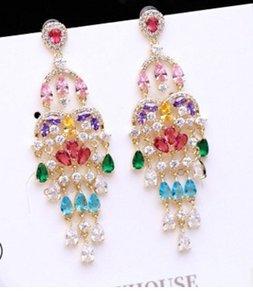 2pairs / lots chaming Kristall-Diamant wddding Quasten der birde Dame earings up-market 5.6 # 2cm 38.5uu