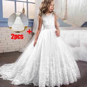 Longa fuga laço da flor meninas vestido de casamento da noite meninas do aniversário vestir primeiro traje comunhão princesa dama de honra dresss