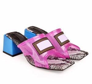 Yeni Kadın Orta Topuk Sandal Kare Toe Moda Sandalet Gerçek Deri Yüksek Topuklu Terlik Şeffaf PVC Kristal Sandalet Kadınlar Terlik US 11