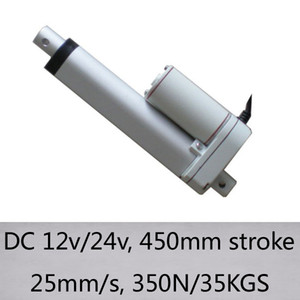 18inch / 450mm Mini 25mm accidente cerebrovascular / s alta sin carga 350N de velocidad / carga 35kgs DC 12V / 24V actuador lineal eléctrico