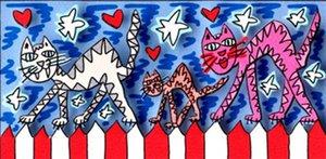 Джеймс Рицци-любовь кошки домашний декор ручная роспись маслом на холсте стены искусства холст картины 191221