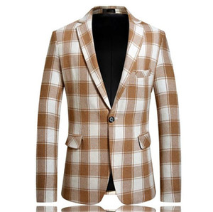 Men Plaid Printed Blazers Casual Men Lapel Neck Outerwear Winter Male Coat with Single Breasted