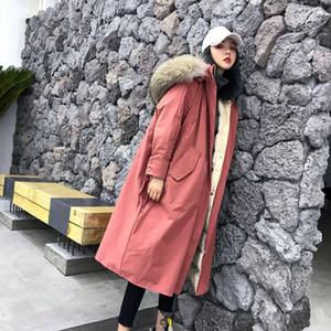 Leiouna Cotton soltas Duck Brasão da Coreia do soprador longa das mulheres Moda casacos de inverno Feminino Quente Feather Jacket Parka Casacos Casacos