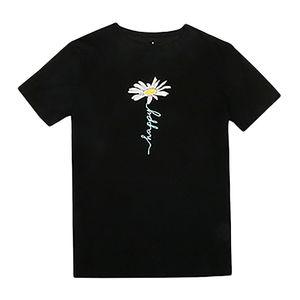 Daisy Flower Print Tshirts Casual Streetwear Short Sleeve Tops Tees Women Hip Hop Fashion Summer T Shirts female