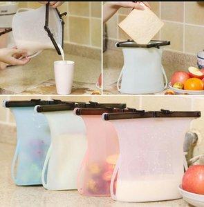 Borse 1000ml freschi silicone pieghevole riutilizzabile Frigo Milk carne della frutta fresca del sacchetto di sigillamento del silicone Food Storage Bag LJJK1168