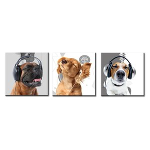 Dog Art - Cute Puppy Funny Frog Modern Animal World Headphones Earplugs Music Symbol Background Cool Painting Modern Artwork Prints on Canva