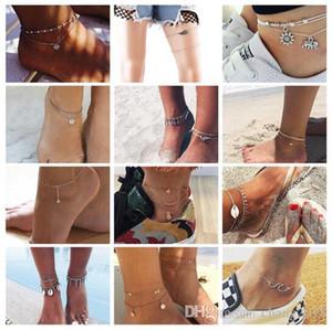 Vintage Antique Argent Couleur Anklet Femmes Grand Bleu Pierre Perles Bohème Cheville Bracelet cheville Boho Pied Bijoux 20 styles ALXY