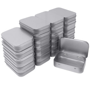 24 Metal Rectangular Empty Hinged Tins Box Containers Mini Portable Box Small Storage Kit,Home Organizer,3.75 by 2.45 by