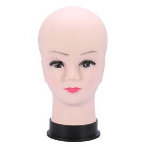 PVC-Mannequin-Kopf Modell Weibliche Perücke machen Hut-Anzeige mit Basiswimpern Makup Praxis Traning Manikin Bald Head Modell