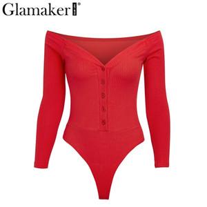 Großhandels-Glamaker Off Schultertasten sexy Body Frauen Art und Weise weiß bodycon Bodysuits red one-Stücke dünne weiche Partei Feder Overall