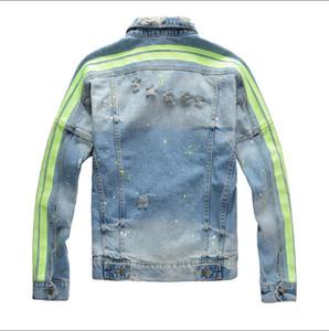 Nouvelle arrivée Mens Designer Jacket Fashion Tide Mens Denim Veste rayée Manteau de haute qualité High Street Manteau chaud Vente Veste Euro Version M-4XL