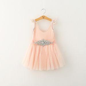 Venta caliente Elegancia Niños Niñas Vestidos de otoño Blanco Rosa 2 colores Niños Vestidos Con Cinturón de Diamantes Ropa al por menor para bebés