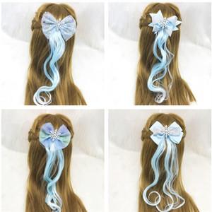 Blaue Schneeflocke-Perücke Haarspange Schöne Braid lockiges Haar beugt Klipp für Babys Pferdeschwanz Spangen Prinzessin nette Hairpin Haar-Accessoires Geschenke